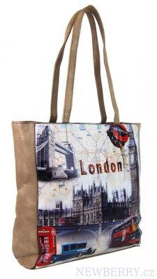 e91fc12d4a7 Dámská kabelka na rameno s motivem Londýna 60694 meruňkovo-hnědá ...