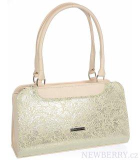 e1e01c1188 Béžovo-zlatá dámská kabelka v motivu květů S728 GROSSO   NEWBERRY ...