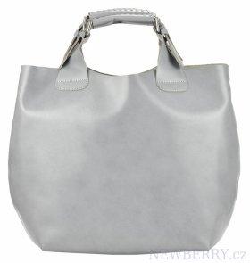 cc5d1bbb9a Velká světle šedá kožená dámská shopper kabelka   NEWBERRY ...